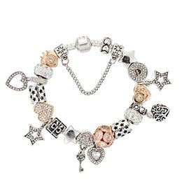 diamond party strands UK - New glamour fashion heart CZ diamond pendant beaded bracelet for Pandora jewelry DIY high quality beaded pendant ladies bracelet with gift