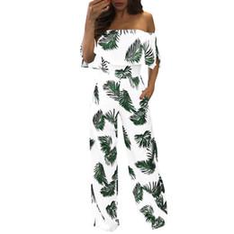 $enCountryForm.capitalKeyWord NZ - Sexy Leaf Printed Ruffled Romper Summer Off Shoulder Loose Wide Leg Playsuit Casual Sleeveless Long Jumpsuit Siamese broek YL