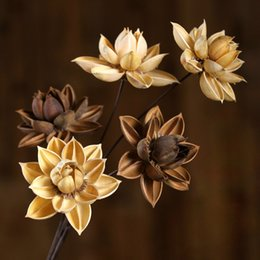 wedding center piece decorations Australia - 1pcs 55cm Dried Flowers Natural Lotus Home Decorating Wedding Decoration Party Decorative Floral Flower Branch Center Pieces
