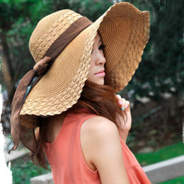 $enCountryForm.capitalKeyWord NZ - HT1681 2018 New Korea Style Women Summer Hats Big Bow Solid Large Wide Brim Hats Packable Floppy Beach Sun Hat Female Straw