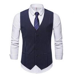 Best Clothes Sales Australia - 2019 Custom Made Men's Vest Styles Striped Fabric Single-Breasted Men's Clothing Vests Best Mens Vests Men Vest Tops Sale