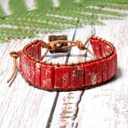 Beaded multi strand Bracelet online shopping - 2pcs Chakra Bracelet Jewelry Handmade Multi Color Natural Stone Tube Beads Leather Wrap Bracelet Couples Bracelets Creative Gifts