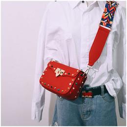 Red Stud Handbags Australia - Designer- New genuine leather rock color stud handbags women fashion color rivets shoulder bags easy matching for valentines