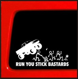 funny family stickers Australia - Stick Figure Family Run You Stick Monster truck funny stickers White 7'' White windows die cut decal