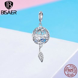 sterling silver figaro bracelet NZ - BISAER 100% 925 Sterling Silver Preserved Flower Drop Feather Pendants Fit Bracelet Necklaces Women Fashion Accessories ECC1123