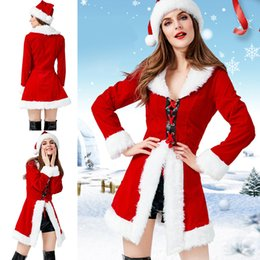 Wholesale santa women outfits for sale – custom Christmas Santa Claus Costume Party Role Play Outfits Hooded Dress Pants Set For Women Cosplay Stage Costumes Warm Coat Women