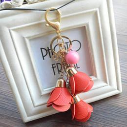 $enCountryForm.capitalKeyWord NZ - Free DHL 2019 Hot Sale Fashion Desgin PU Leather Rose Keychain Cute Car Key Ring Accessory For Women Bag Keychain Jewelry Gift B786Q A