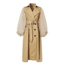 $enCountryForm.capitalKeyWord UK - To Gladself Sashes Windbreaker for Women Patchwork Lantern Polka Dot Mesh Sleeve High Waist Belt Female's Autumn Trench