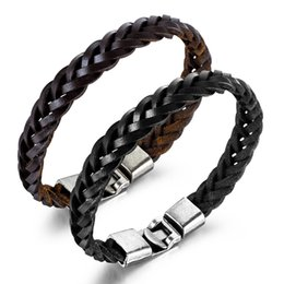 gift sets for mens NZ - mens for bracelets brown stainless steel knit bracelet PU leather Titanium hand chain mens jewelry for gift