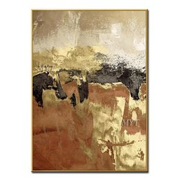 Hand art painting online shopping - Hand painted Oil Painting Gold Design Abstract New Arrival Gold Paint Wall Art Oil Painting Wall Pictures For Living Room Decor
