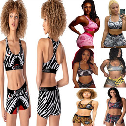 wholesale girls tracksuit Canada - Fashion Women Swimsuit Shark Skull Print Tracksuit Cartoon Vest Push Up Bra + Shorts Two Piece Outfits Bodycon Swimwear Bikini Suit Clothes