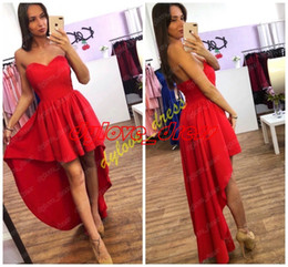 plus size asymmetrical evening dresses Canada - 2019 red plus size evening gowns formal dress vestidos de fiesta black girl african arabic homecoming prom dresses short