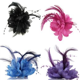 Discount lady pins - Hot Women Ladies Flower Feather Bead Corsage Hair Clips Fascinator Bridal Hairband Brooch Pin