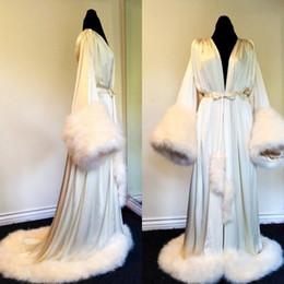 Wholesale wedding kimonos resale online - Satin Long Kimono Robe Dressing Gown Wedding Bridesmaid Fur Sleepwear Bathrobe Bridal Jacket Wraps High Quality