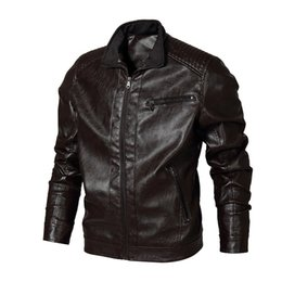 motorcycle jacket size s Canada - New Brand Leather Jacket Men Coat Fashion Stand Collar PU Leather Coat Men High Quality Motorcycle Jacket US Size S-XXL
