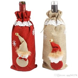 cloth wine bottle bags Canada - Christmas Bottle Cover Linen Santa Clause Champagne Bottle Wine Bag Dinner Table Christmas Decoration for Home Party Supplies
