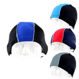 Hair Assorted Colors Australia - Adult Women men Pure Color Swimming Caps,assorted colors Protect Ears Long Hair Sports Swim Pool Hat,Teen Boys Girls Elastic Lycra Swim Cap