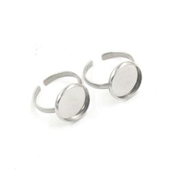 wholesale 38318smt2 Stainless Steel Adjustable Ring Blanks with 12mm Base  Setting Round Ring Base Finding 75ee40ad2f3e