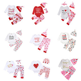 Valentine headbands online shopping - Newborn Baby Outfits Boys Girls Designs My First Valentines Day Hearts Lips Printed Romper Pant Headband Cap Tutu Dress Boutique Clothes