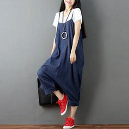 $enCountryForm.capitalKeyWord Australia - Zanzea Women Strappy Sleeveless Harem Romper Loose Dungarees Overalls Denim Blue Linen Suspender Jumpsuit Solid Bib Pants S-5xl Y19062201
