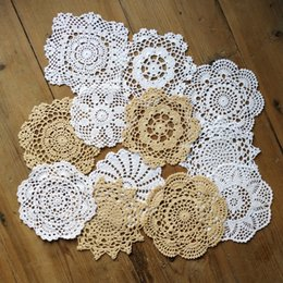 "$enCountryForm.capitalKeyWord Australia - lot of 12 Per design 1 PCS Nice Happy flower Crochet pattern round doilies ~ Diameter 6""-7""-8"" White Beige handmade table mats coasters"