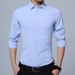 shirt youth Australia - Pop2019 Time Long Sleeve Slim Business Affairs Solid Color Shirt Men's Youth Occupation Correct Dress Inch Unlined Upper Garment