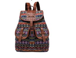 $enCountryForm.capitalKeyWord Australia - European and American wind canvas leisure fashion shoulder bag, Indian style, lady backpack, pull rope buckle open cover, travel, shopping,