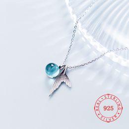 $enCountryForm.capitalKeyWord Australia - Women Silver Foam Tail Mermaid Pendant Necklace Fish Shape Blue Crystal Bead Transparent Clavicle Chain Necklace Jewelry Girl