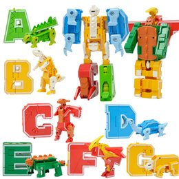 Chinese  3 IN 1 Letter Building Block Toy - letter transforming into dinosaur animal and robot block for children toy Figures manufacturers