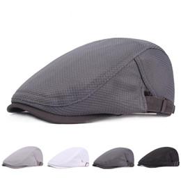 Duckbill hats men online shopping - HT1754 New Summer Berets for Men Breathable Mesh Flat Cap Cabbie Driver Duckbill Ivy Caps Plain Solid Women Beret Hats Beret Cap