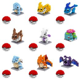 anime puzzles Australia - 6pcs Small particles blocks 20 Models Figures Diamond Elf Ball Building Blocks Toys Christmas Gifts Anime Puzzle crea tive po kemon elves