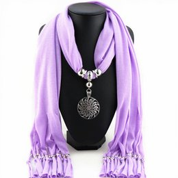 necklaces pendants Canada - Charm Vintage Flower Pendant Women Necklace Purple Polyester Chokers Necklaces For Women Christmas Scarves Jewelry Colgantes