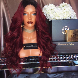 Discount lace front silk top ombre - Silk top 100% Human Hair Full Lace Burgundy Wig Ombre Color 1B 99J Two Tone Body Wave Front Lace Wigs Dark Root