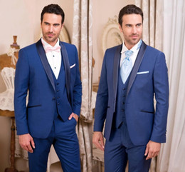 Discount slim fit gray suit - Classy Handsome Royal Blue Tuxedos Slim Fit Mens Wedding Suits One Button Groom Wear Three Pieces Formal Suit(Jacket+Pan
