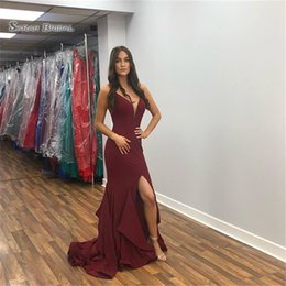 $enCountryForm.capitalKeyWord NZ - Mermaid Split V-neck Prom Dresses Vestidos De Festa Evening Wear In Stock Hot Sales High-end Occasion Dress