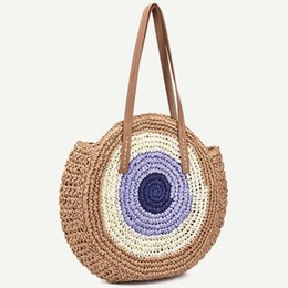 boho bags wholesale NZ - 2019 New color matching round straw Shoulder bag crochet Vintage women summer bohemian handbag Boho Wild beach travel vacation Leisure bags