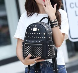 $enCountryForm.capitalKeyWord Australia - New European designer leather backpack outdoor travel bag casual Valentine's day bag black silver crystal metal inlay free shipping
