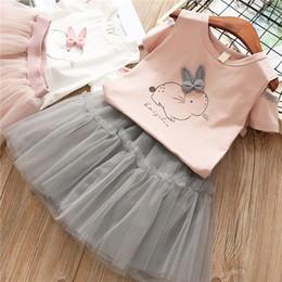 $enCountryForm.capitalKeyWord Australia - Girls Clothing Sets 2 colors kids rabbit printed Short Sleeve T-Shirt+Tutu Dress 2Pcs kids clothes set kids designer clothes girls JY303