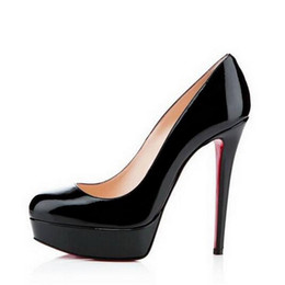 red leather dresses Australia - 2020 Black Matte Leather Round Toes Red Bottom High Heels,Fashion Women Nude Shiny Leather Waterproof Platform Dress Shoes 14cm