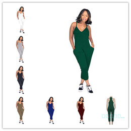 Wholesale plus size sleeveless chinese dress resale online - Plus Size Summer Women Sleeveless Romper V Neck Strap Overalls Wide Legs Pants One Piece Tank Jumpsuit Loose Pants Clubwear Playsuit C51413