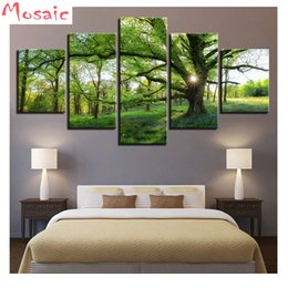 diamond 3d pictures NZ - wholesale 5D Diamond Embroidery Natural Green Forest Scenery Mosaic 3d Picture,5pcs Diamond Painting Cross Stitch Kits home Decoration