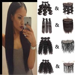 Discount cheap loose body wave hair - Brazilian Virgin Straight Loose Wave Hair Weaves Bundles With Frontal Closure Cheap Deep Water Body Wave Hair Wefts With