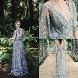 Holiday Evening Gowns Floor Length Australia - Paolo Sebastian 2019 Prom Dresses Blue Appliques Sequins Tulle Floor Length Formal Holidays Wear Lace V Neck Homecoming Evening Party Gowns