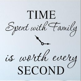 family quote decals Canada - Time Spent with Family is Worth Every Second Wall Stickers Removable Art DIY Sticker family Quotes Home Decor
