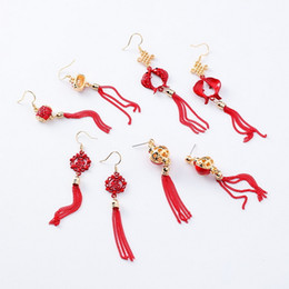 mexican lanterns UK - Traditional Holiday Red Lantern Chinese knot Carp Fish Long Tassel Dangle Earrings For Women Jewelry Pendientes XE1333