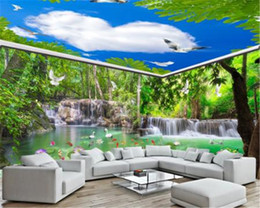 Wedding pigeons online shopping - Home Decor d Wallpaper Waterfall Flowing Forest Crane White Pigeon Whole House Background Wall Painting Wall Paper