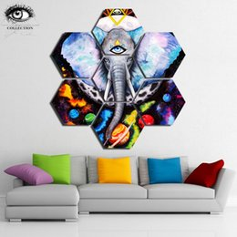 Elephant Panel Art UK - Alien Elefant by Pixie Cold 7 Panels Elephant Colorful Painting Canvas Wall Art Picture Home Decoration Living Room Canvas Art