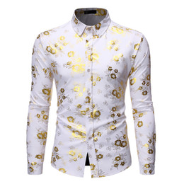 Wholesale shirts for tuxedos resale online - Men s Fancy Flowered Gold Print Dress Shirt Men Brand New Luxury Design Slim Fit Men Tuxedo Shirts for Club Party Disco