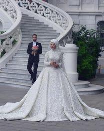 $enCountryForm.capitalKeyWord Australia - High Neck Long Sleeve Arabic Hijab Muslim Wedding Dresses 2019 Romantic Appliques Lace White Bridal Gowns Court Train abiti da sposa Custom