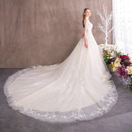 $enCountryForm.capitalKeyWord Australia - 2020 Elegant Royal Wedding Reception Dresses Sheer Neck Appliques Bride Ball Gown Sleeveless Tulle Bridal Dress 3955 robe marriage